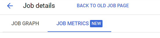 Job details  JOB GRAPH  BACK TO OLD JOB PAGE  JOB METRICS